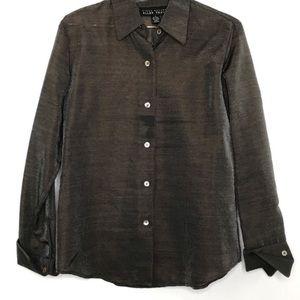 Linda Allard Ellen Tracy blouse 6 wool blend sheer